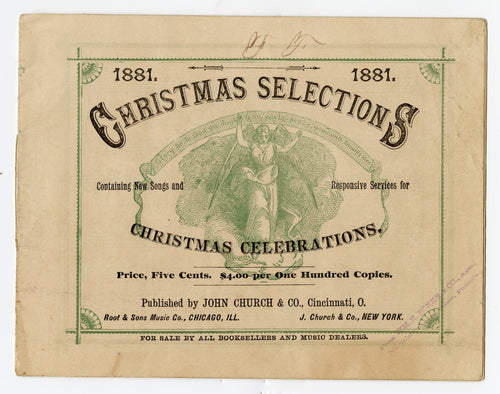 1881 Victorian CHRISTMAS SELECTIONS Song Book, Holiday Sheet Music