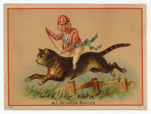Antique Victorian Square Splendid FURNACE TRADE CARD, Jockey Riding Large Cat