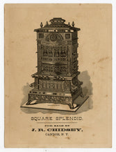 Load image into Gallery viewer, Antique Victorian Square Splendid FURNACE TRADE CARD, Jockey Riding Large Cat