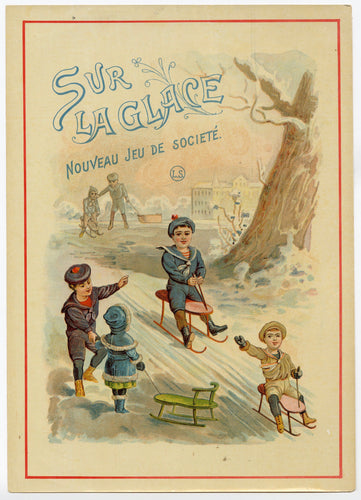 Antique French, Unused SUR LA GLACE Board Game Label, Sledding Scene, Original Print