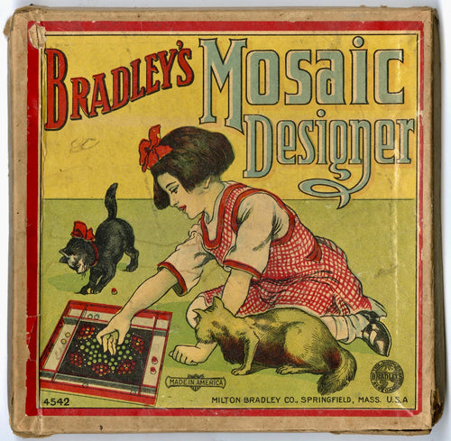 Antique 1910's Milton Bradley Children's MOSAIC DESIGNER Marble Game, Full