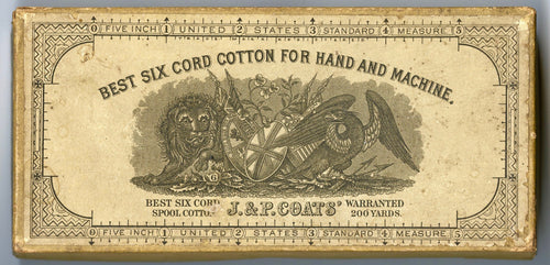 1880's Antique Victorian J.&P. COATS Spool Cotton Box, EMPTY, Vintage Notion