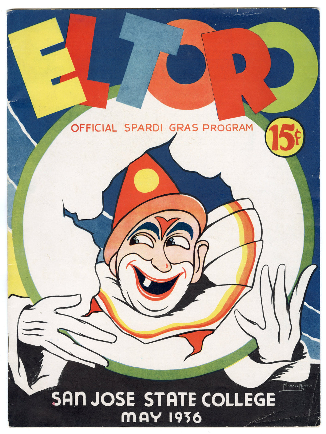 1936 EL TORO Official 'Spardi Gras' Program, San Jose State Magazine, Period Ads