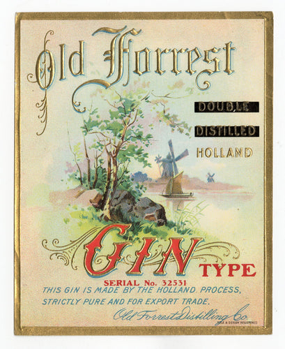 Antique, Unused, Embossed OLD FORREST GIN LABEL,Double Distilled, Holland