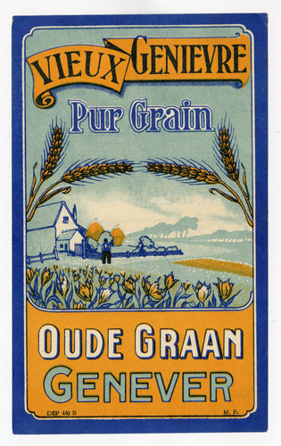 Antique, Unused, French OUDE GRAAN GENEVER, Gin LABEL, Farm Scene