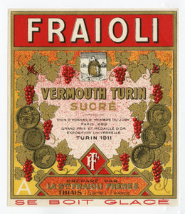 Antique, Unused, French FRAIOLI SWEET VERMOUTH LABEL, Thiais