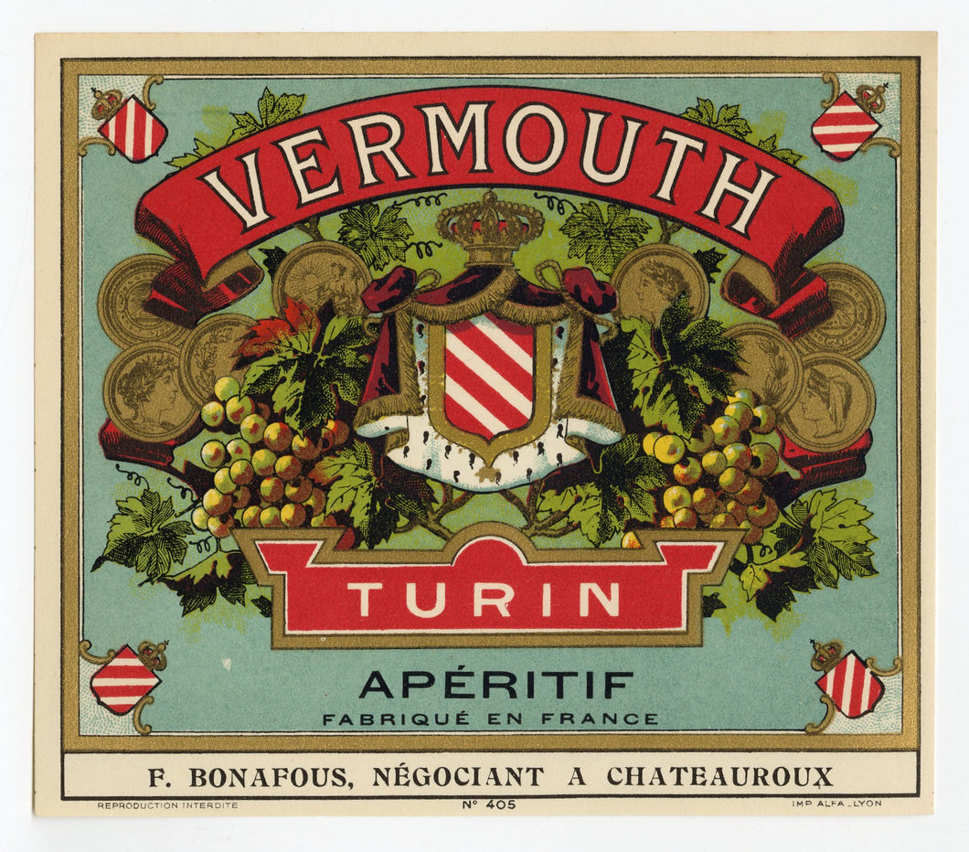 Antique, Unused, French VERMOUTH TURIN LABEL, Aperitif,  Alcohol, Gold Ink