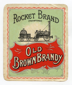 Antique, Unused Rocket Brand OLD BROWN BRANDY LABEL, Two Colors, Alcohol