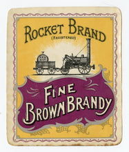 Load image into Gallery viewer, Antique, Unused Rocket Brand OLD BROWN BRANDY LABEL, Two Colors, Alcohol