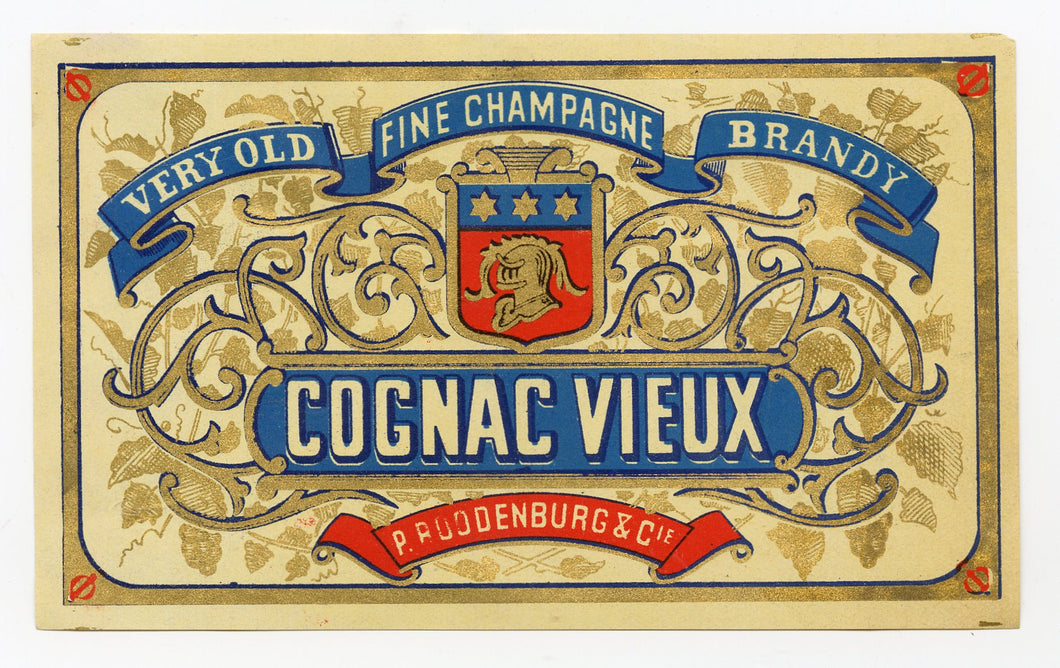 Antique, Unused COGNAC VIEUX LABEL, Fine Champagne, Brandy, Knight