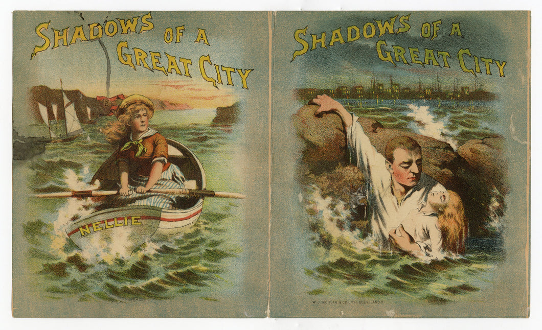 Antique 1890's SHADOWS OF A GREAT CITY Play, Advertising Trade Card, Theater