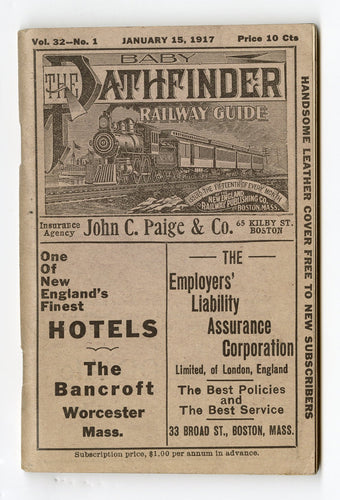 1917 BABY PATHFINDER RAILWAY GUIDE Booklet, Train Schedule Guide