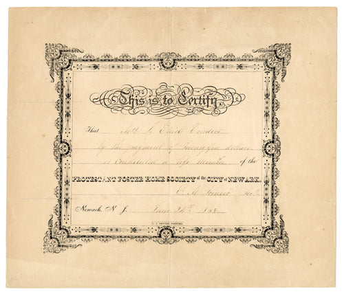 1863 PROTESTANT FOSTER HOME SOCIETY of Newark CERTIFICATE, Ornament
