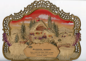 Blandon Bakery Embossed Winter Scene Advertising Sign, Store Display