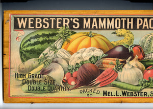 Webster's Mammoth Seed Packets Crate Label, Mounted on Wooden Lid