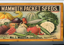 Load image into Gallery viewer, Webster's Mammoth Seed Packets Crate Label, Mounted on Wooden Lid