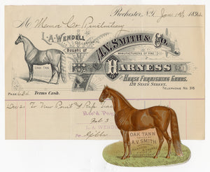 1894 A.V. Smith & Co. Harness and Horse Furnishing Goods Billhead and Die-cut Trade Card Set