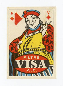 Mid-Century Tobacco Brand Playing Card Suits Matchbox Labels, Set of 12