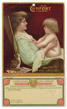 Load image into Gallery viewer, Antique 1910 COMFORT ADVERTISING CALENDAR, Gold Eagle, Baby and Mother