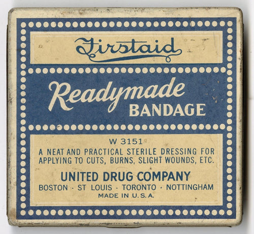 Antique Firstaid Readymade Bandage Tin Box, Empty, United Drug Co.