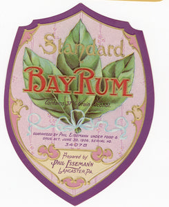 Antique, Unused BAY RUM LABEL, Cosmetic, Aftershave, Phil Eisemann, Lancaster, PA