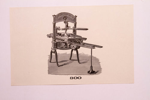 Old Letterpress and Printing Equipment Original Drawings, Washington Press #300