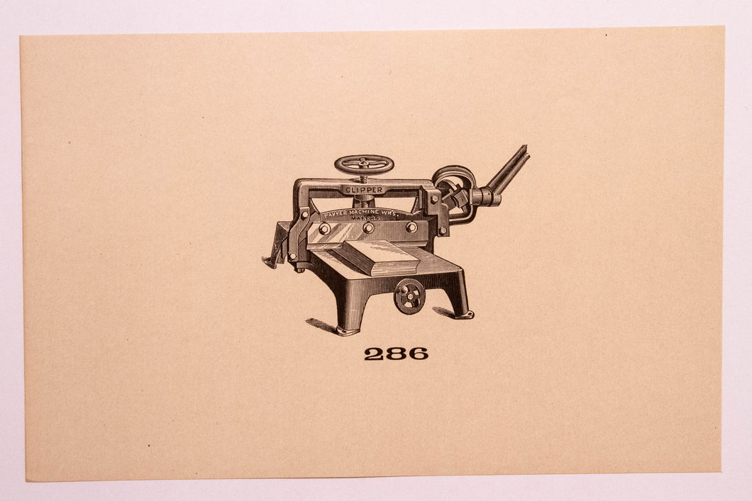 Old Letterpress and Printing Equipment Original Drawings, Press #286 Clipper