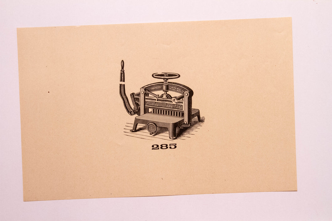 Old Letterpress and Printing Equipment Original Drawings, Press #285 Clipper