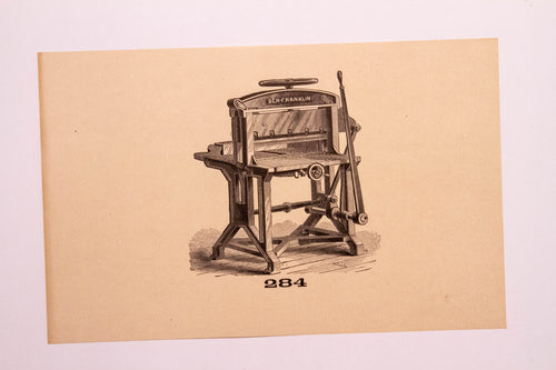 Old Letterpress and Printing Equipment Original Drawings, Press #284 Ben Franklin