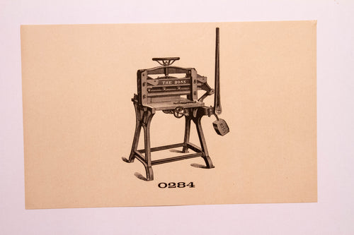 Old Letterpress and Printing Equipment Original Drawings, Press #0284 Boss
