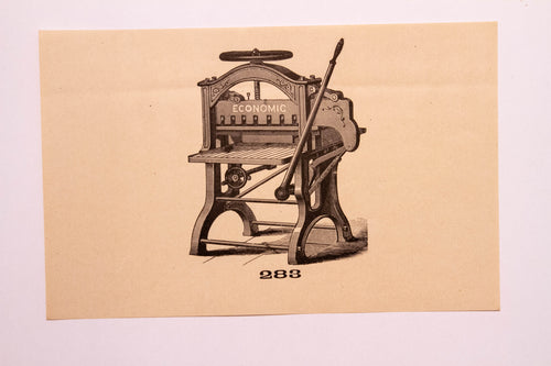 Old Letterpress and Printing Equipment Original Drawings, Press #283 Economic