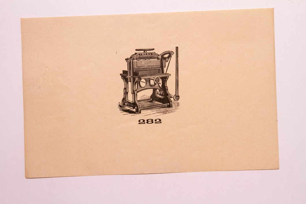 Old Letterpress and Printing Equipment Original Drawings, Press #282 Ideal