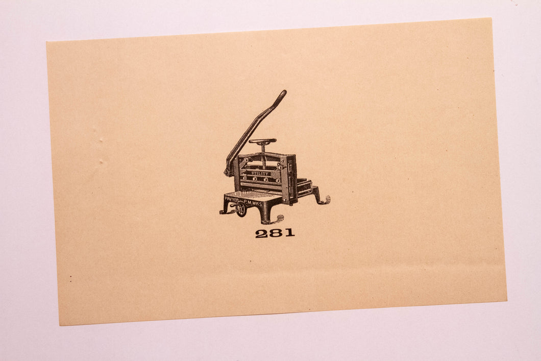 Old Letterpress and Printing Equipment Original Drawings, Press #281 Utility