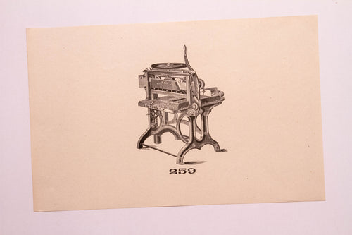 Old Letterpress and Printing Equipment Original Drawings, Press #259 Sanborn