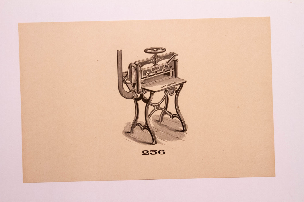 Old Letterpress and Printing Equipment Original Drawings, Press #256 Paragon