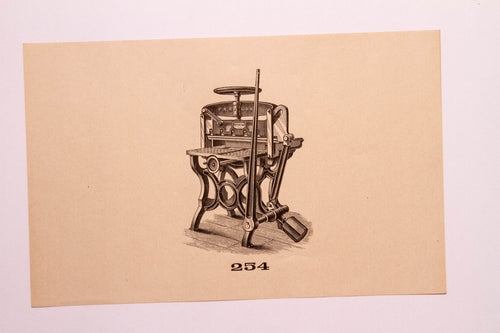 Old Letterpress and Printing Equipment Original Drawings, Press #254 Paragon