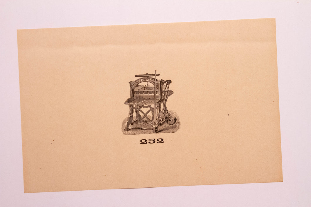 Old Letterpress and Printing Equipment Original Drawings, Press #252 Sanborn
