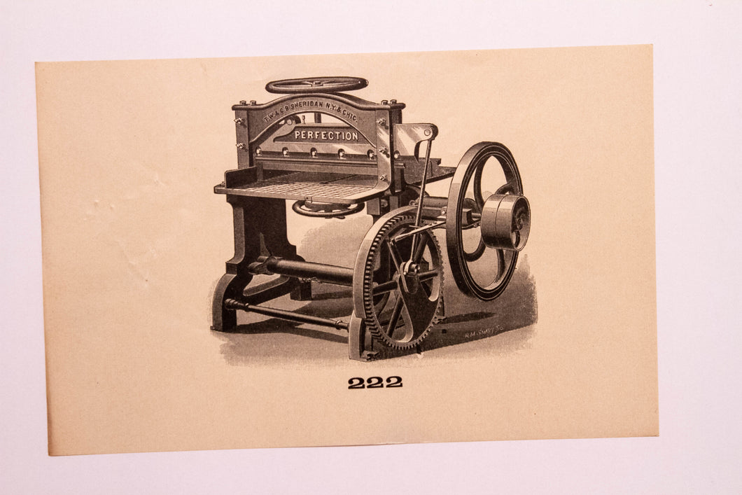 Old Letterpress and Printing Equipment Original Drawings, Press #222 Sheridan