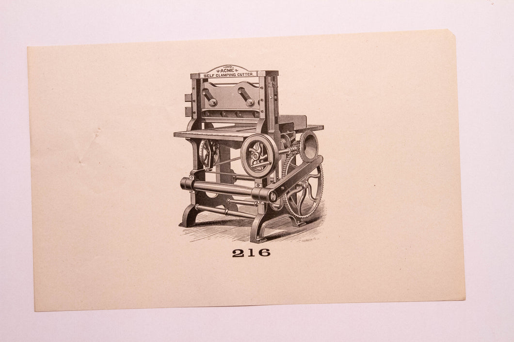 Old Letterpress and Printing Equipment Original Drawings, Press #216 Acme Cutter