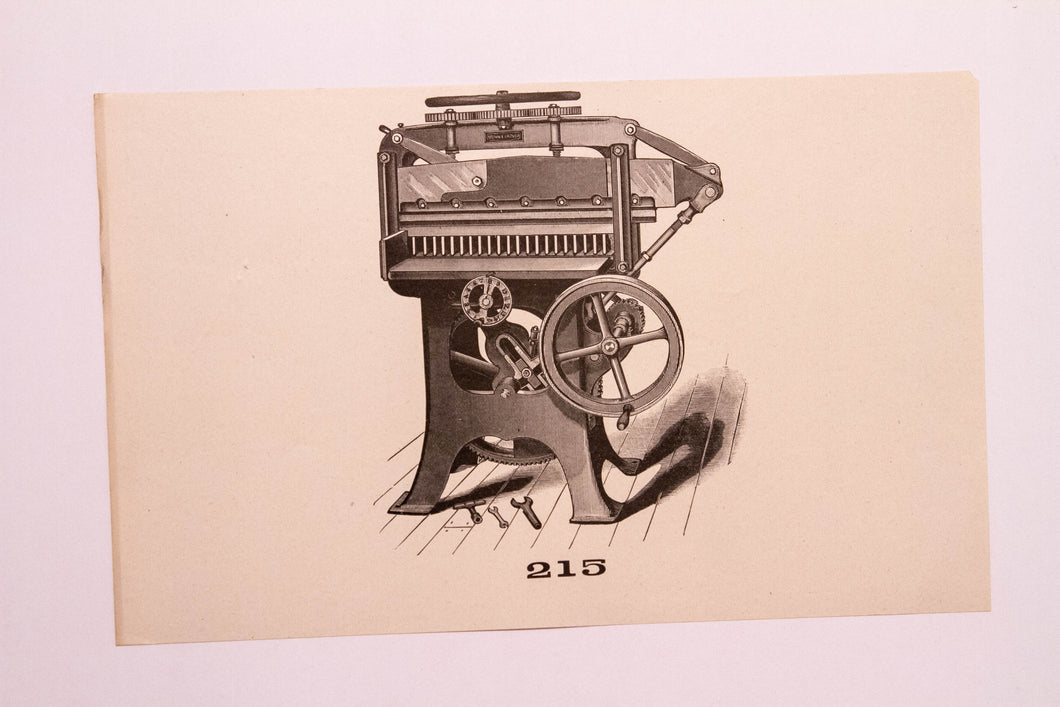Old Letterpress and Printing Equipment Original Drawings, Press #215