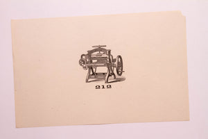 Old Letterpress and Printing Equipment Original Drawings, Press #212 Sanborn