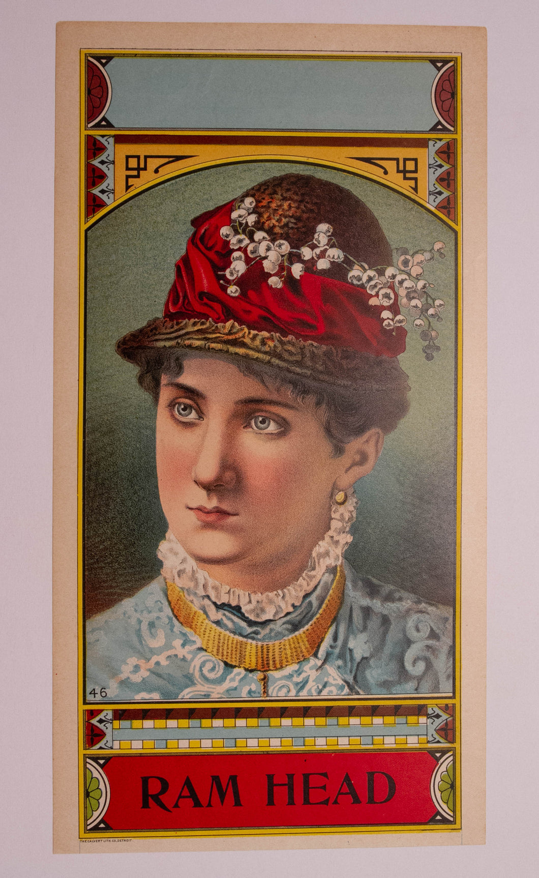 Portrait of Woman, RAM HEAD TOBACCO Caddy Label, Old, Vintage - TheBoxSF