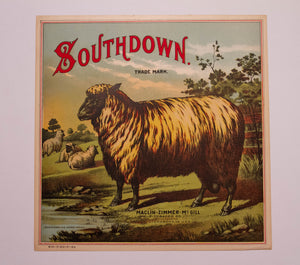 SOUTHDOWN Sheep TOBACCO Caddy Label, Maclin Zimmer McGill Tobacco Co, Old, Vintage - TheBoxSF