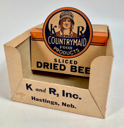 Antique 1920's COUNTRY MAID SLICED BEEF Package, Store Display, K&R INC.
