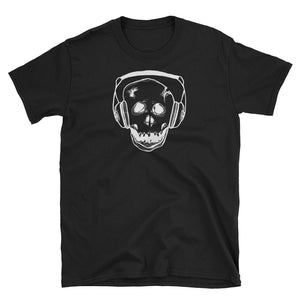 Skelly Bones with Headphones Black Short-Sleeve Unisex T-Shirt
