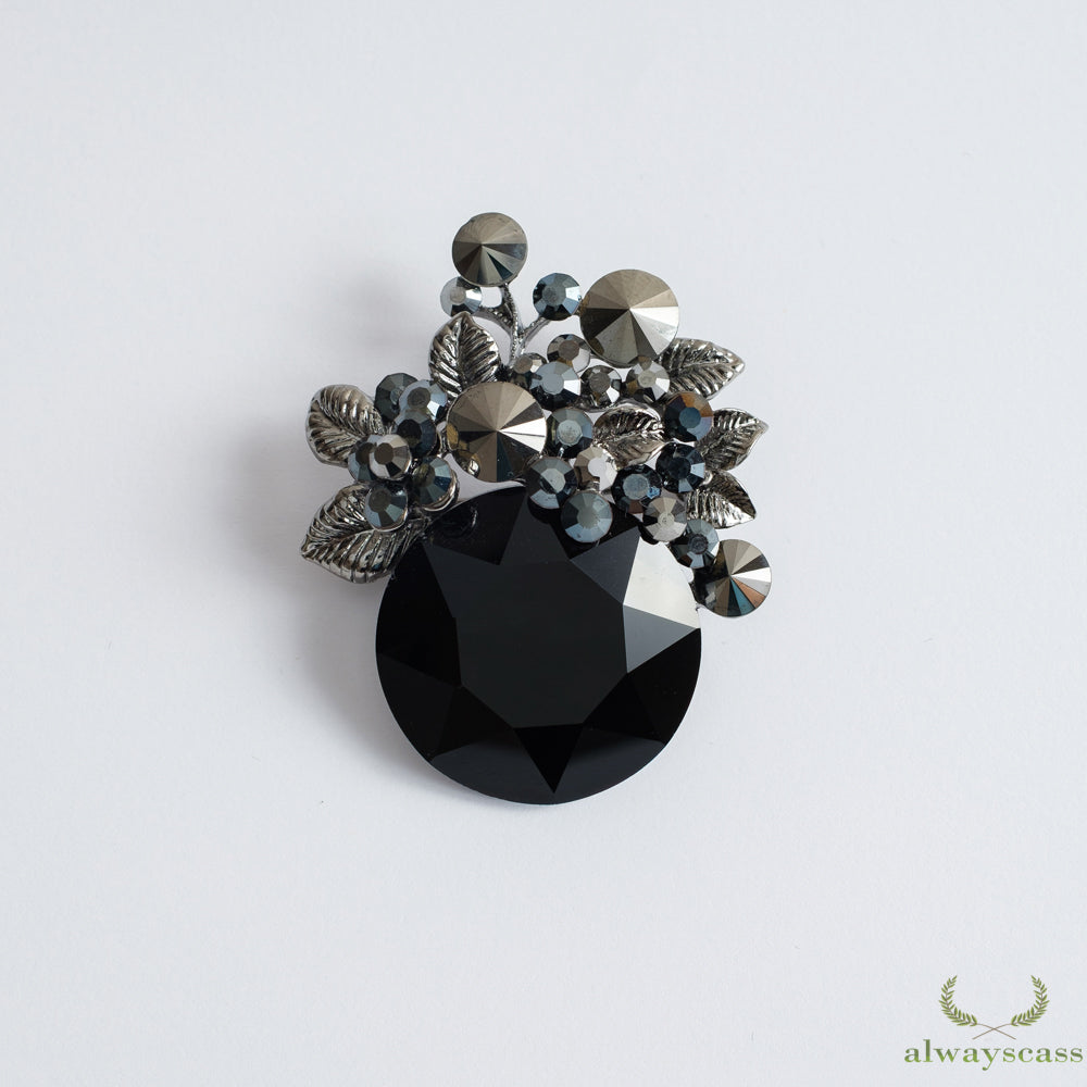 Black  Sphere brooch