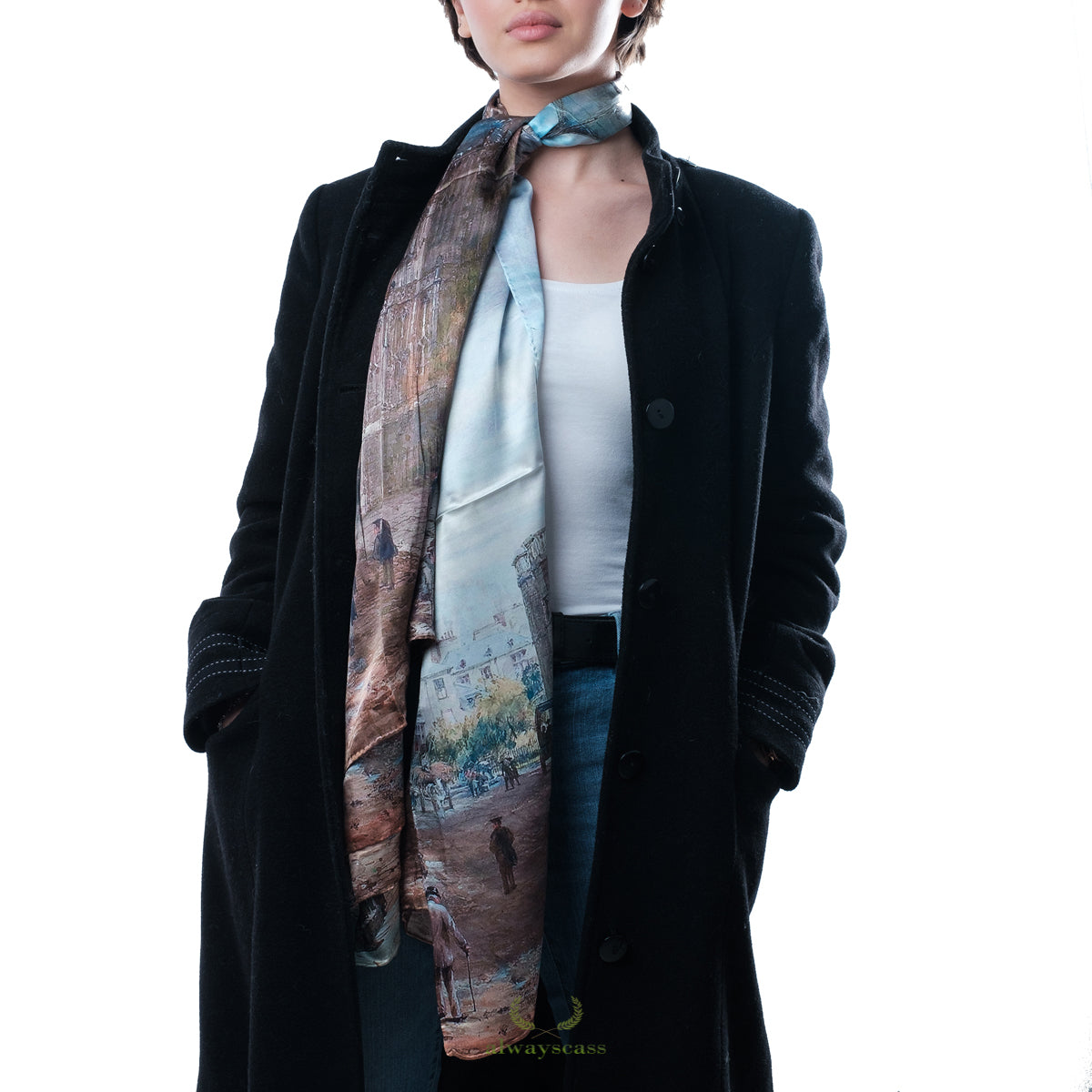 City Cloud Silk Scarf