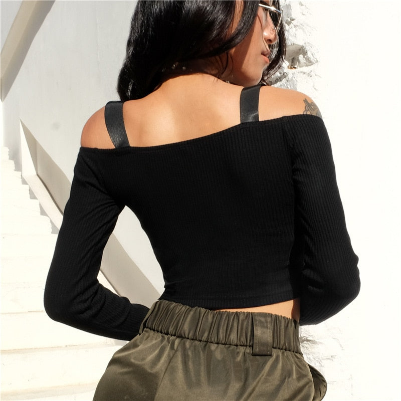 Zipper Off Shoulder Crop Top