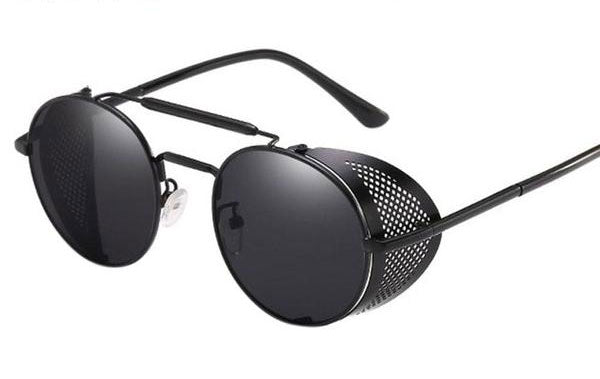 Round Sunglasses with Mesh Metal Shields