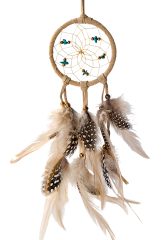Dream Catcher w/ Semi Precious Stones -Tan 2.5""